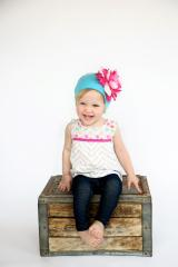 Teal Cotton Hat with Pink Raspberry Large Peony