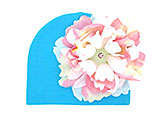 Teal Cotton Hat with Pink White Large Peony