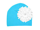 Teal Cotton Hat with White Daisy
