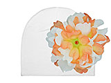 White Cotton Hat with Orange White Large Peony