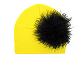 Yellow Cotton Hat with Black Large regular Marabou