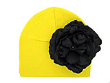 Yellow Cotton Hat with Black Large Rose