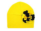 Yellow Cotton Hat with Black Yellow Large Geraniums