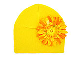 Yellow Cotton Hat with Marigold Daisy