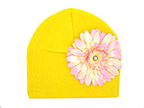 Yellow Cotton Hat with Pale Pink Daisy