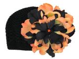 Black Crochet Hat with Black Orange Large Peony