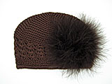 Brown Crochet Hat with Brown Large regular Marabou