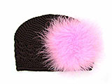 Brown Crochet Hat with Candy Pink Large regular Marabou