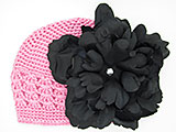 Candy Pink Crochet Hat with Black Large Peony