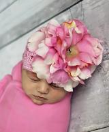 Candy Pink Crochet Hat with Pale Pink Large Peony