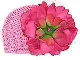 Candy Pink Crochet Hat with Raspberry Large Peony