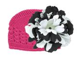 Raspberry Crochet Hat with Black White Large Peony