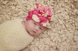 Raspberry Crochet Hat with Pink Raspberry Large Peony
