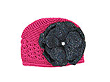 Raspberry Crochet Hat with Sequins Black Rose