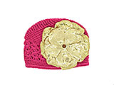 Raspberry Crochet Hat with Sequins Gold Rose