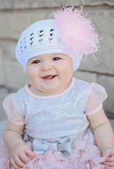 White Crochet Hat with Pale Pink Curly Marabou
