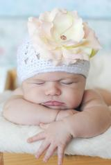 White Crochet Hat with Pale Pink Large Rose