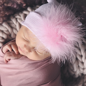 Pink Stripe Hospital Hat with Marabou Puff