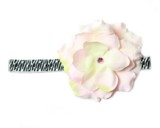 Black White Zebra Flowerette Burst with Pale Pink Small Rose
