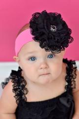 Candy Pink Soft Headband with Black Lace Rose