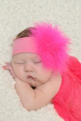 Candy Pink Soft Headband with Raspberry Small Regular Marabou