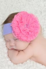 Lavender Soft Headband with Candy Pink Lace Rose