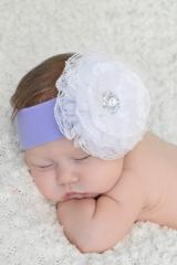 Lavender Soft Headband with White Lace Rose