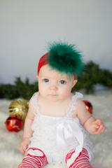 Red Soft Headband with Green Small Regular Marabou