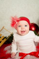 Red Soft Headband with Red White Small Regular Marabou