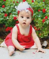 Red Soft Headband with White Small Curly Marabou