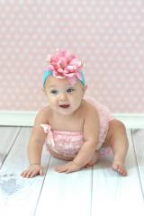 Teal Soft Headband with Candy Pink Small Peony