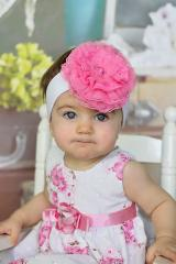 White Soft Headband with Candy Pink Lace Rose