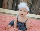 White Soft Headband with White Small Regular Marabou