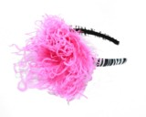 Black White Zebra Hard Headband with Hot Pink Large Curly Marabou