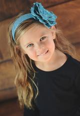 Sequins Teal Hard Headband with Sequins Teal Rose