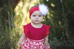 Red Little Love Headband With White Marabou Puff