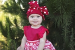 Red Cotton Hat with Red Polka Dot Bow-Rae-Mi