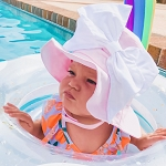 Pale Pink Sun Hat with White Bow-Rae-Mi