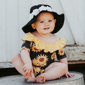 Black Stella Sun Hat with Mini Rose Crown