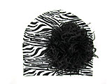 Black White Zebra Print Hat with Black Large Curly Marabou