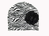 Black White Zebra Print Hat with Black Large Geraniums