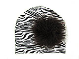 Black White Zebra Print Hat with Black Large regular Marabou