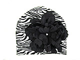 Black White Zebra Print Hat with Black Large Peony