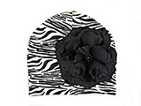 Black White Zebra Print Hat with Black Large Rose
