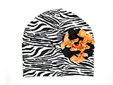Black White Zebra Print Hat with Black Orange Large Geraniums