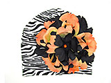 Black White Zebra Print Hat with Black Orange Large Peony