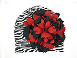 Black White Zebra Print Hat with Black Red Large Peony