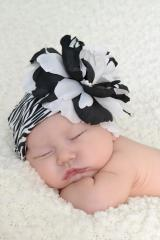Black White Zebra Print Hat with Black White Large Peony
