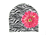 Black White Zebra Print Hat with Candy Pink Daisy
