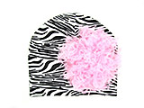 Black White Zebra Print Hat with Candy Pink Large Curly Marabou